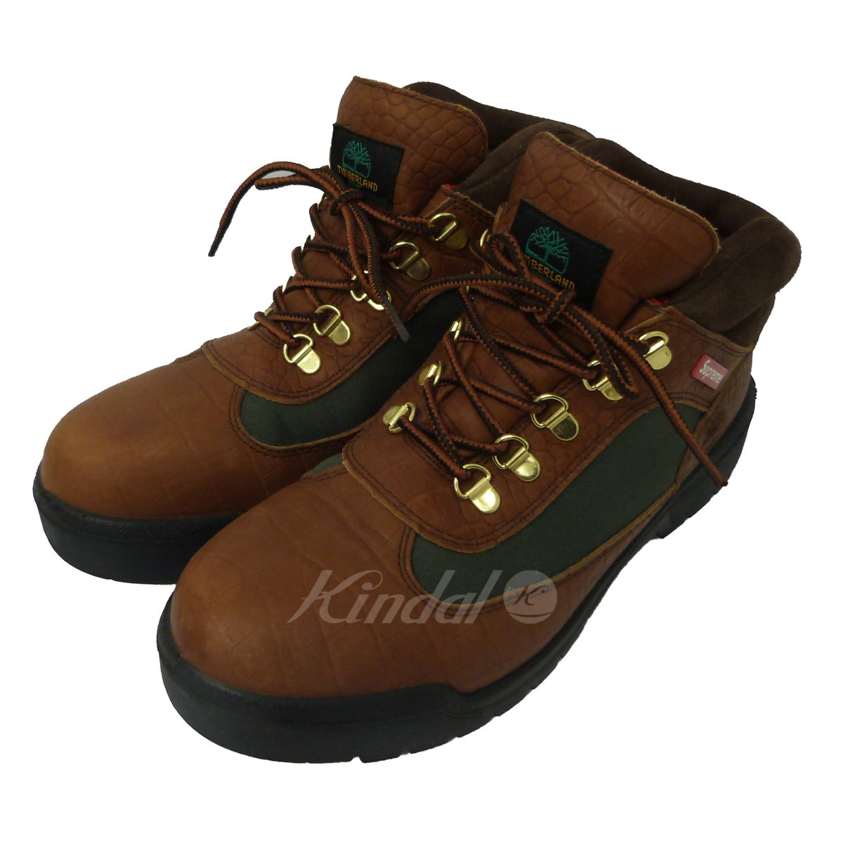 【中古】SUPREME×Timberland 16AW「Field Boot」フィールドブーツ ブラウン×カーキ サイズ:26.5cm 【送料無料】 【210618】(シュプリーム ティンバーランド)