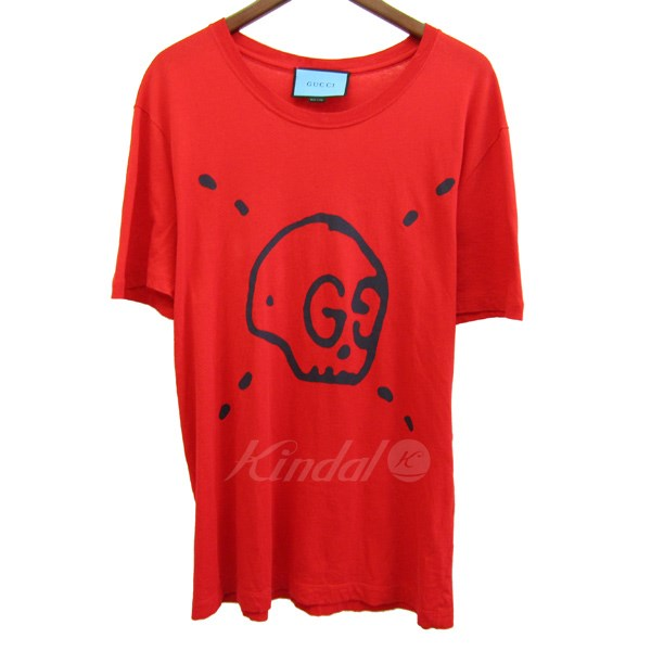 92708ee52696 2017S/S Ghost T-shirt Printed Skull レッド サイズ:M 【送料無料】 【250618】(グッチ) 【中古】GUCCI -Tシャツ・カットソー