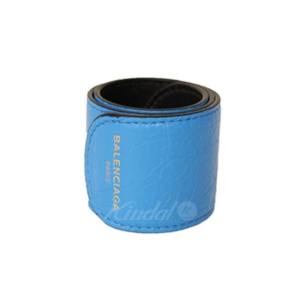 【中古】BALENCIAGA BRACELET ロゴ レザーブレスレット ブルー サイズ:- 【送料無料】 【260618】(バレンシアガ)