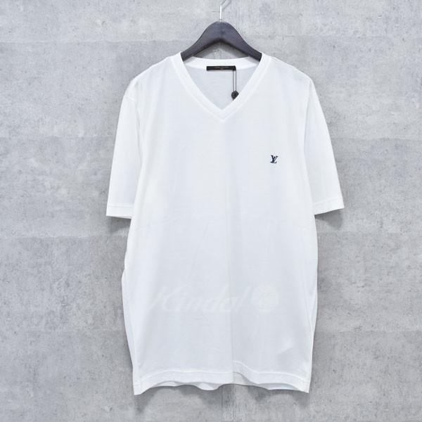 【中古】LOUIS VUITTON ロゴ刺繍VネックTシャツ ホワイト サイズ:XL 【送料無料】 【260618】(ルイヴィトン)
