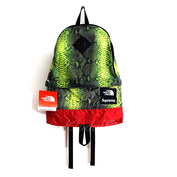【中古】SUPREME×THE NORTH FACE2018SS Snake Lightweight Daypack スネーク バックパック グリーン×レッド