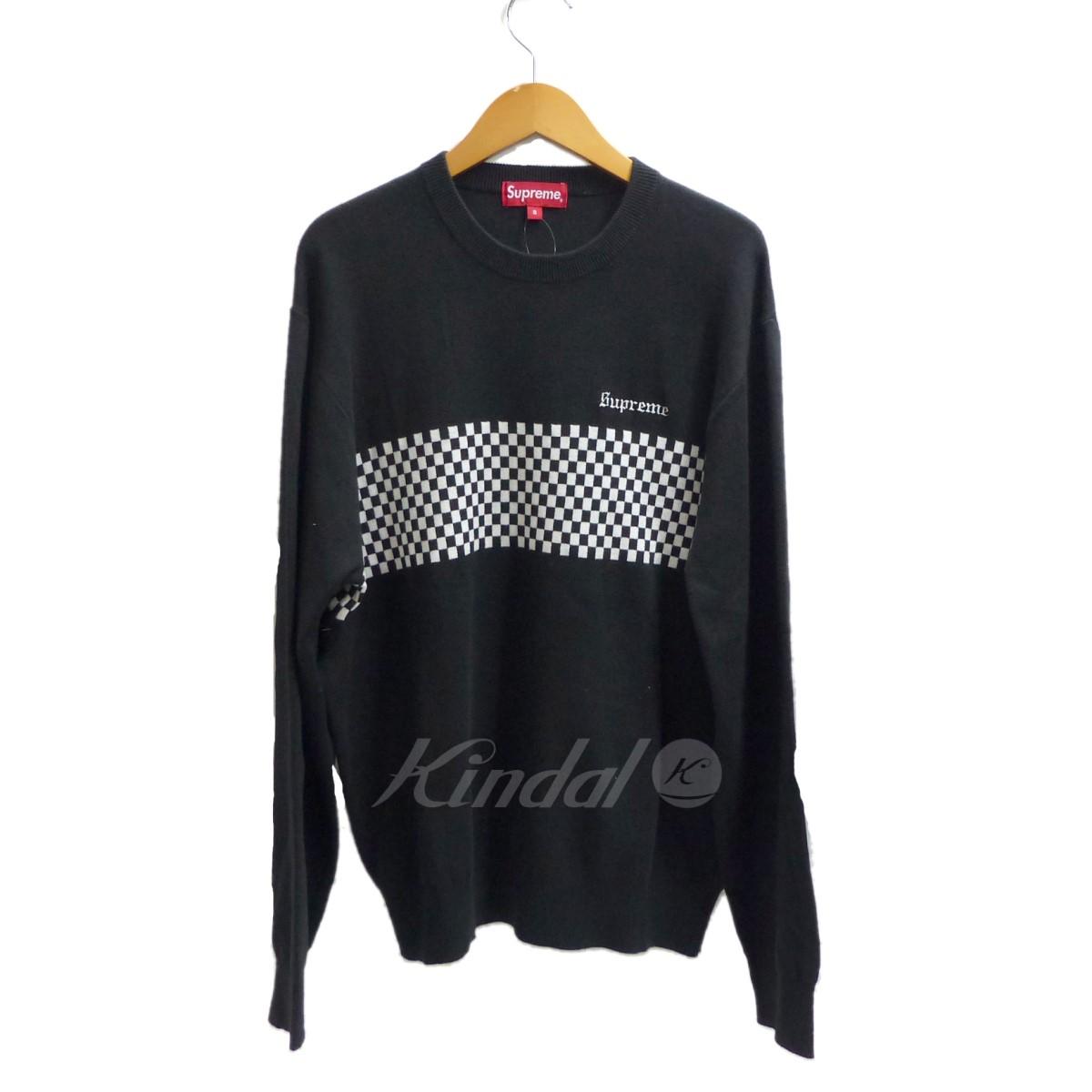【中古】SUPREME 2018SS Checkered Panel Crewneck Sweater 【送料無料】 【137358】 【KIND1499】