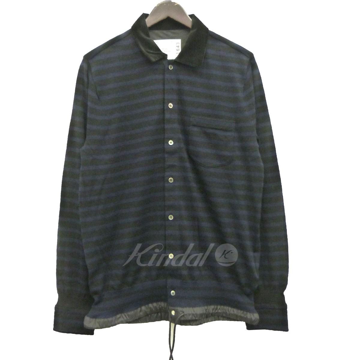 【10月22日 お値段見直しました】【中古】sacai18SSドローコード付ボーダーシャツ ブラック×ネイビー サイズ:2 【送料無料】