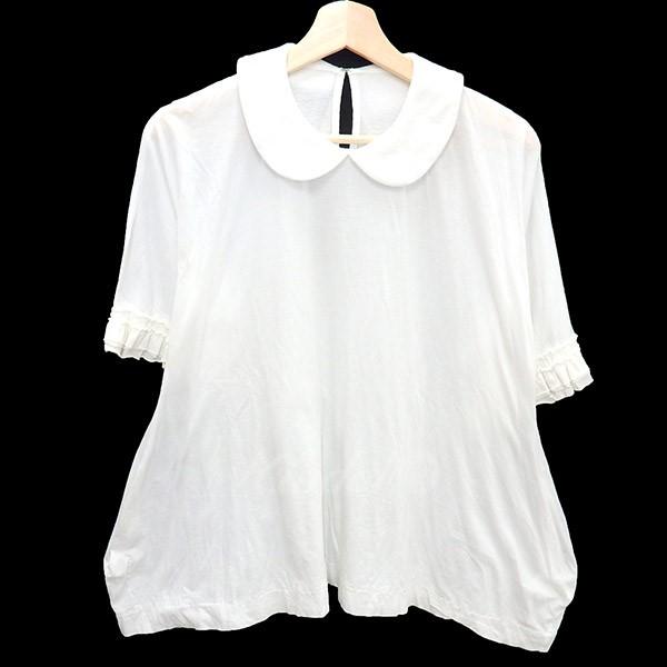 【中古】tricot COMME des GARCONS 2018SS パイルラウンドカラーシャツ 袖フリル ホワイト サイズ:S 【送料無料】 【100718】(トリココムデギャルソン)