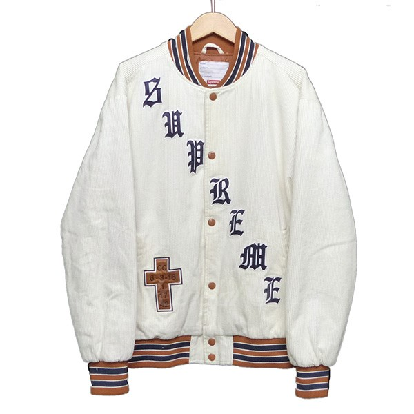 【中古】SUPREME 2018SS Old English Corduroy Varsity Jacket Black 【送料無料】 【011872】 【KIND1550】