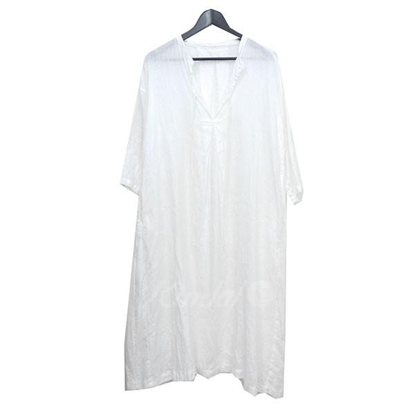 【8月2日 お値段見直しました】【中古】nest Robe2018SS リネンバンドカラースモックワンピース ホワイト サイズ:Free 【送料無料】