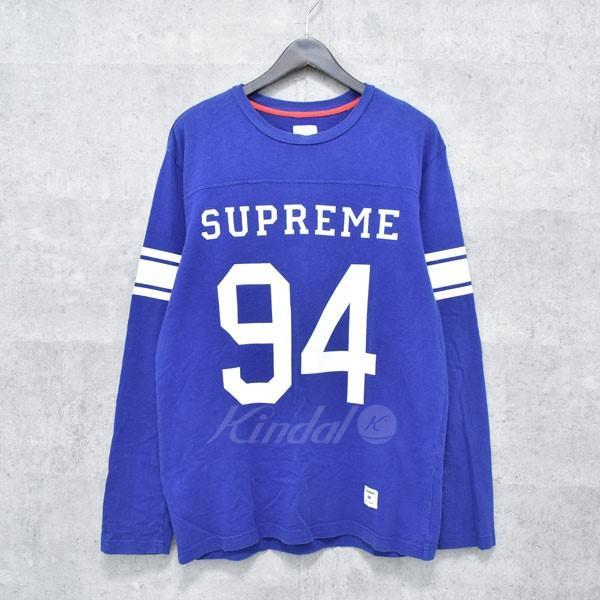 【中古】SUPREME 10SS ロゴフットボールロングTシャツ ブルー サイズ:M 【140718】(シュプリーム)