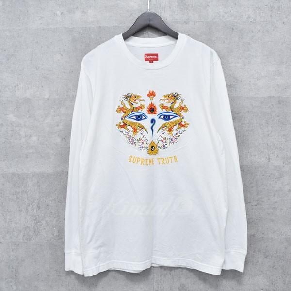 【中古】SUPREME 17SS  Truth L S Tee 刺繍デザイン長袖カットソー ホワイト サイズ:M 【送料無料】 【140718】(シュプリーム)