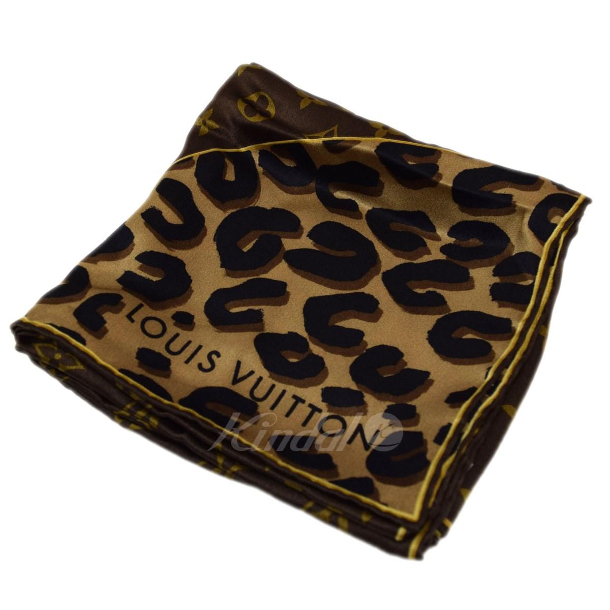 【中古】LOUIS VUITTON レオパードxモノグラムスカーフ ブラウン サイズ:- 【送料無料】 【150718】(ルイヴィトン)