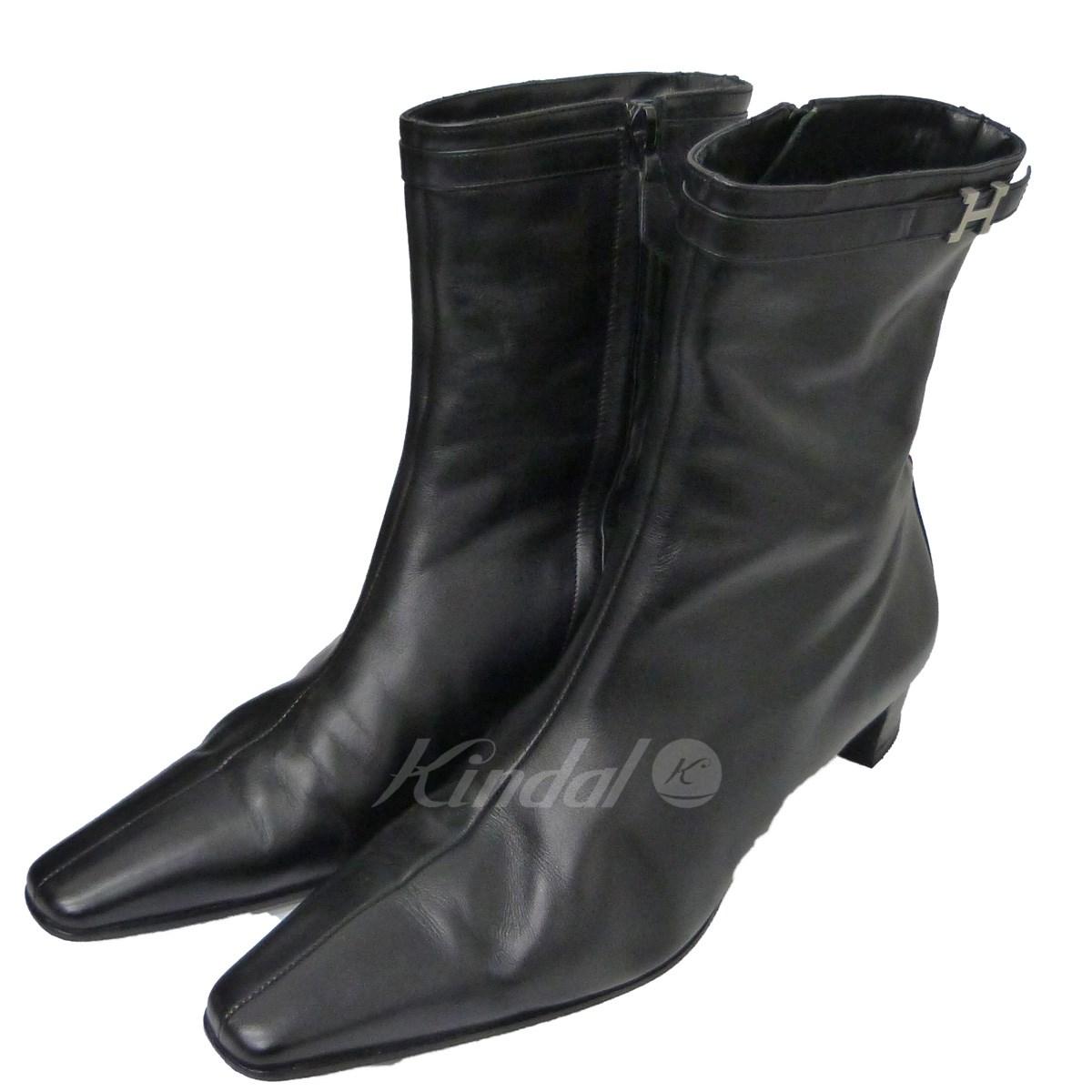 【中古】HERMES サイドジップHバックルブーツ ブラック サイズ:39 【送料無料】 【140718】(エルメス)