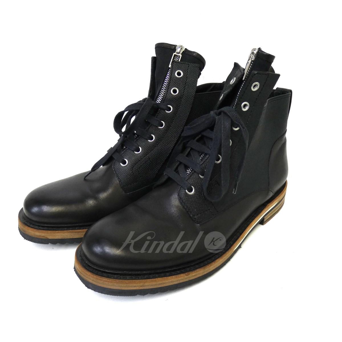 【10月15日 お値段見直しました】【中古】Dior Homme12SS コンビレザーセンタージップブーツ ブラック サイズ:44 【送料無料】