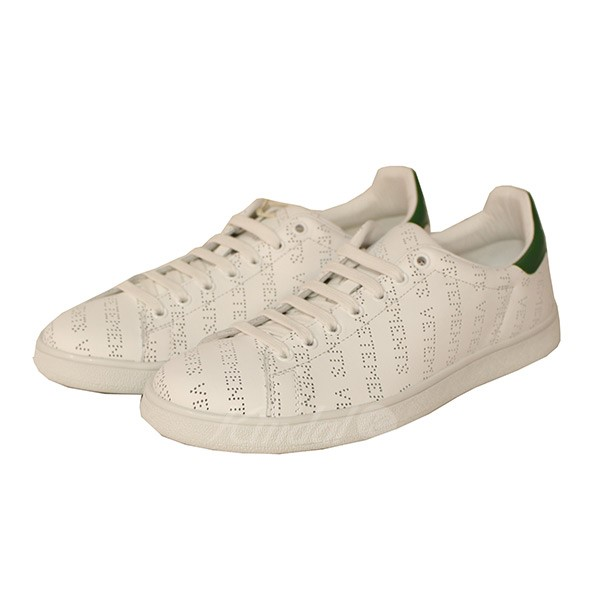 633fe571b480 VETEMENTS 2018SS Perforated Sneakers repeat logo low-frequency cut sneakers  white size  41 (ヴェトモン)