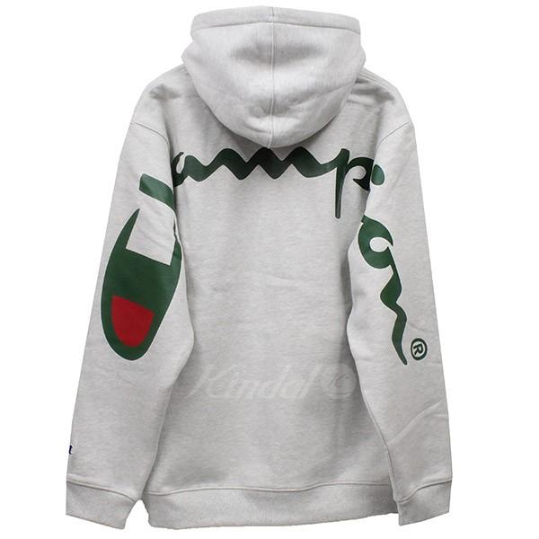 【中古】Supreme × Champion 2018SS Hooded Sweatshirt バックプリントプルオーバーパーカー グレー サイズ:L 【送料無料】 【280718】(シュプリーム チャンピオン)