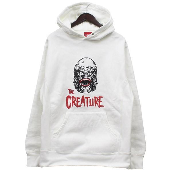 【中古】Supreme 2010AW Creature Pullover Hoodie プリントプルオーバーパーカー ホワイト サイズ:L 【送料無料】 【280718】(シュプリーム)