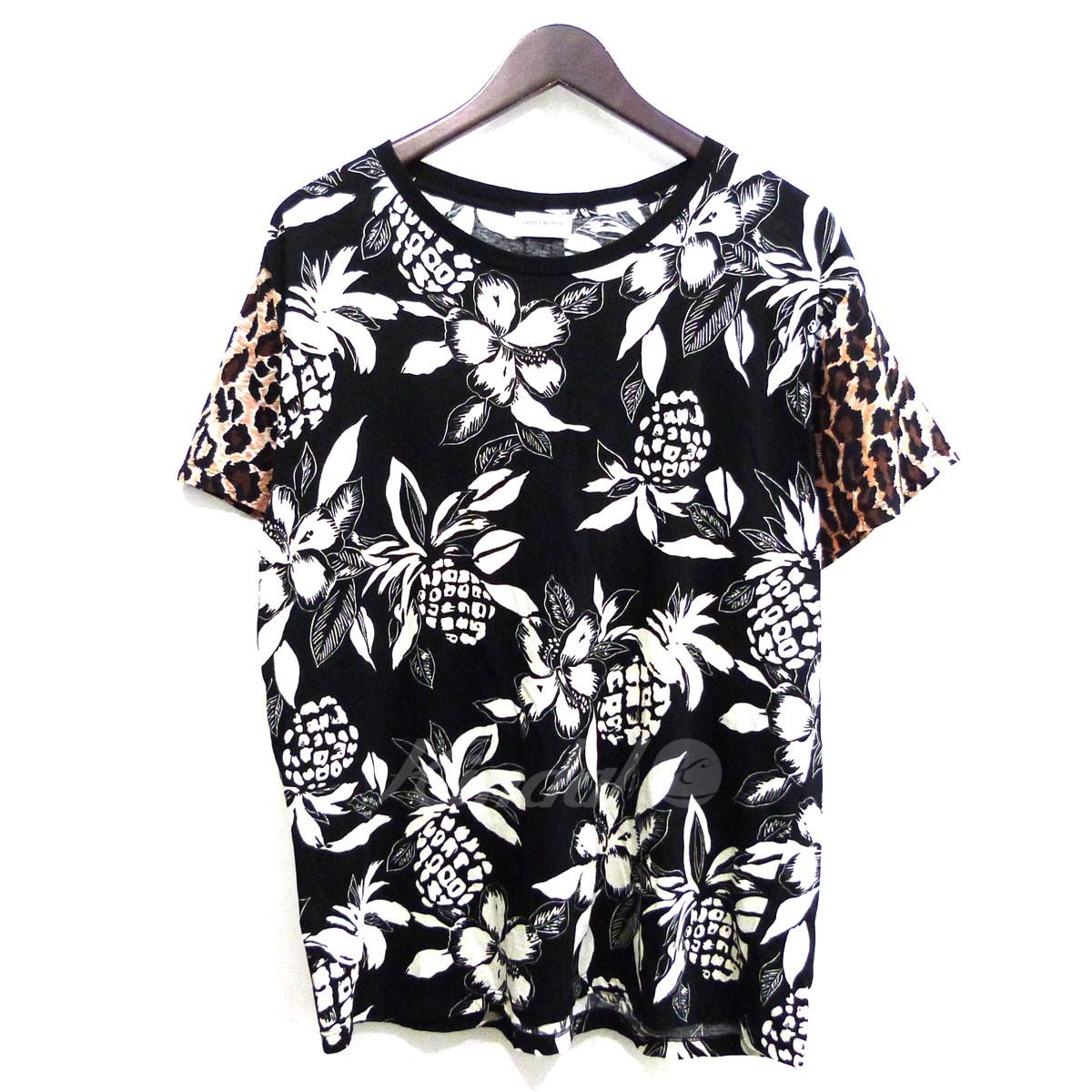 【中古】SAINT LAURENT PARIS17SS ハワイアンレオパードTシャツ ブラック×ベージュ サイズ:M 【送料無料】