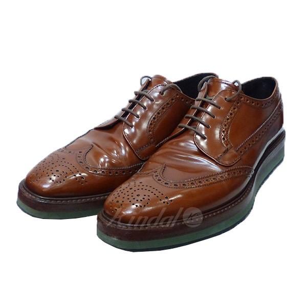 【中古】PRADA プラダ ウイングチップ シューズ 靴 【送料無料】 【001472】 【KIND1550】