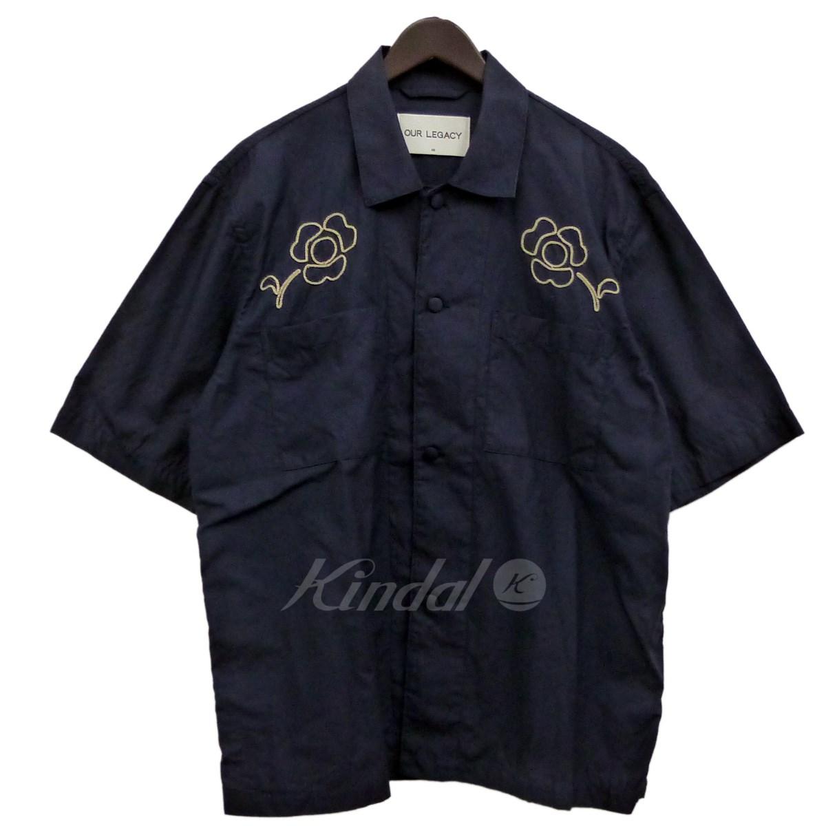 【中古】OUR LEGACY 刺繍シャツ ネイビー サイズ:48 【300718】(アワーレガシー)