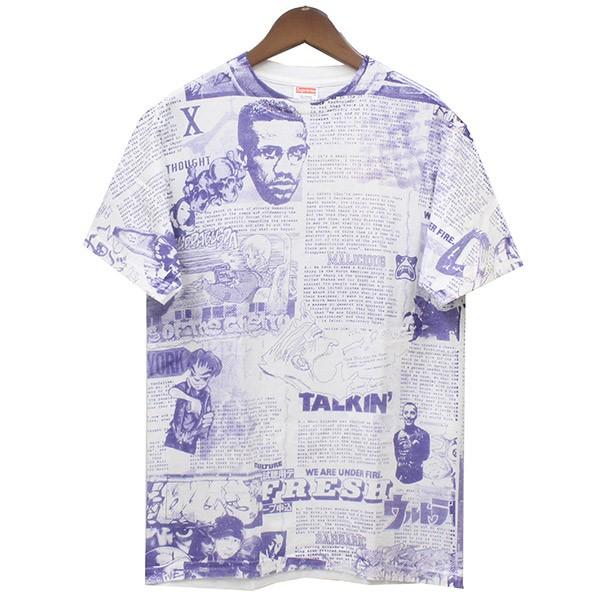 【中古】Supreme 2007SS Phase 2 IG Times Tee 総柄Tシャツ ホワイト×パープル サイズ:M 【送料無料】 【310718】(シュプリーム)