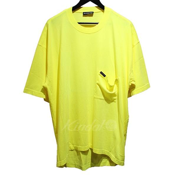 【中古】BALENCIAGA 2018SS オーバーサイズ Tシャツ ドルーピー ビックシルエットポケットTシャツ イエロー サイズ:S 【送料無料】 【300718】(バレンシアガ)