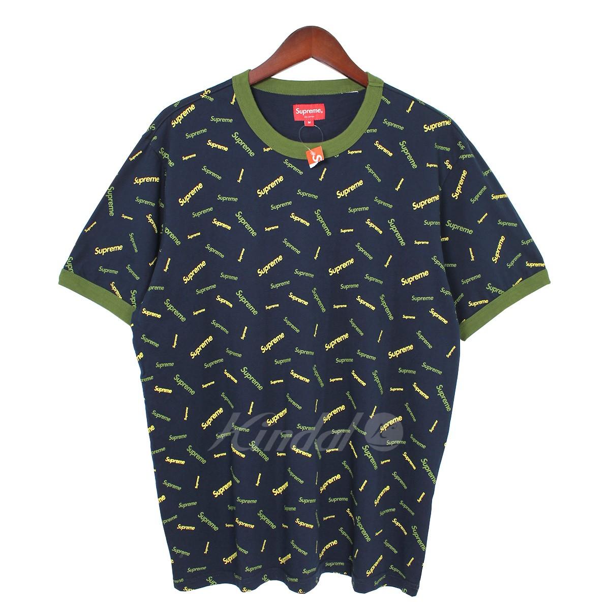 【中古】SUPREME 18AW Scatter Ringer マルチロゴTシャツ ネイビー サイズ:M 【送料無料】 【210818】(シュプリーム)