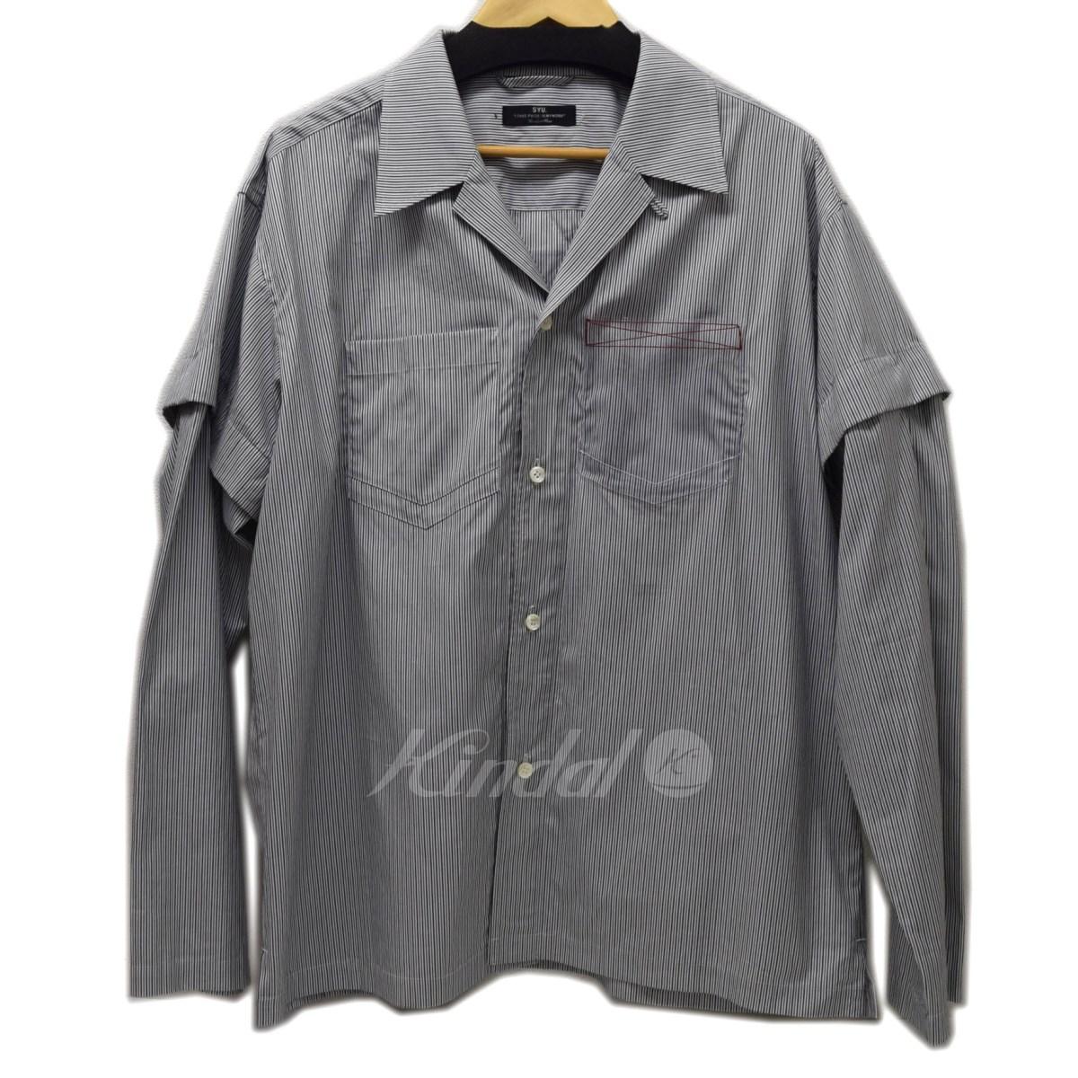 【4月18日 お値段見直しました】【中古】SYU.2WAY OPENCOLLER SHIRT オープンカラーシャツ ブラックXホワイト サイズ:2