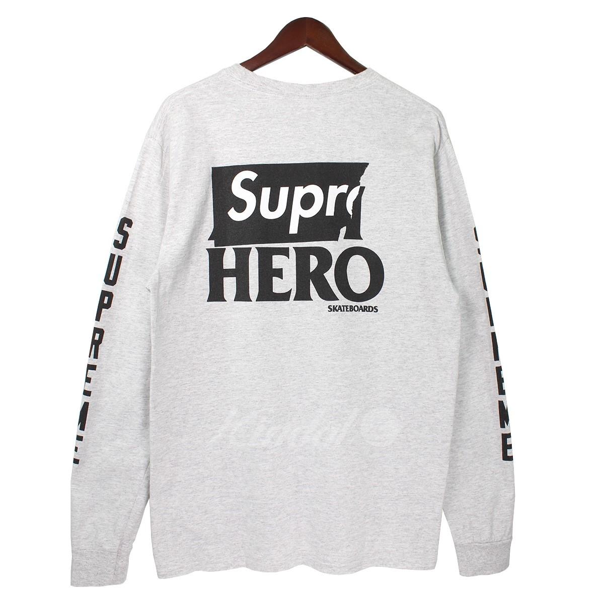 【中古】SUPREME 14SS L/S Logo tee バックロゴロングスリーブTシャツ グレー サイズ:M 【送料無料】 【280818】(シュプリーム)