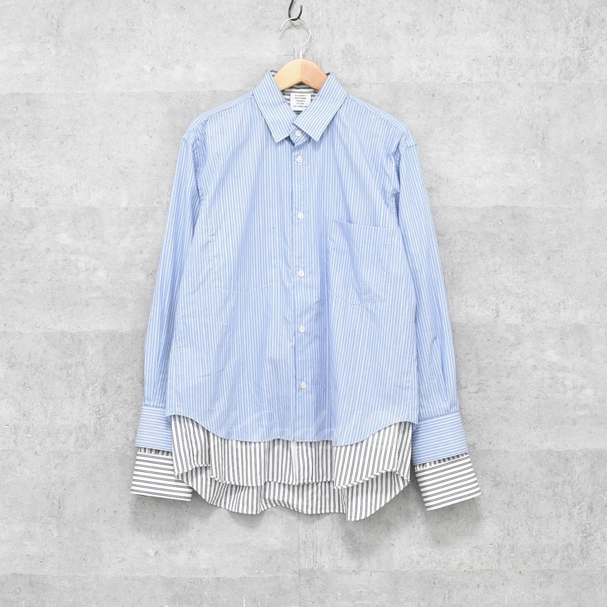 【中古】VETEMENTS ×COMME des GARCONS SHIRT ストライプレイヤードシャツ 17SS 【送料無料】 【202346】 【AM1497】
