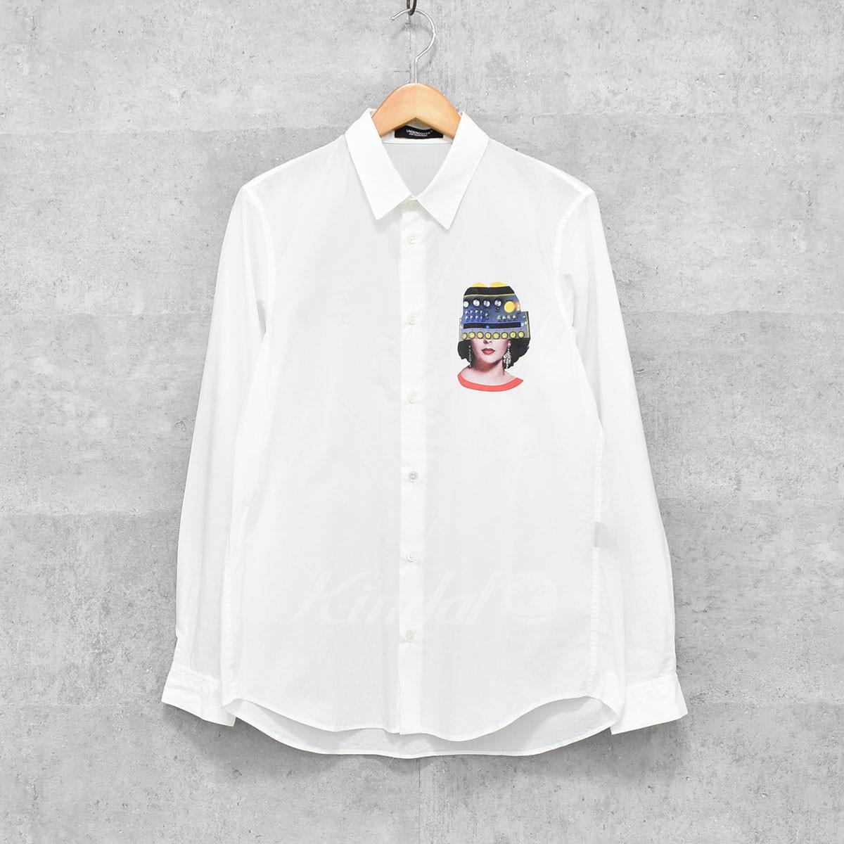 【中古】UNDER COVER 18SS ブロードシャツ FACE2 Synthe 長袖シャツ ホワイト サイズ:1 【送料無料】 【310818】(アンダーカバー)