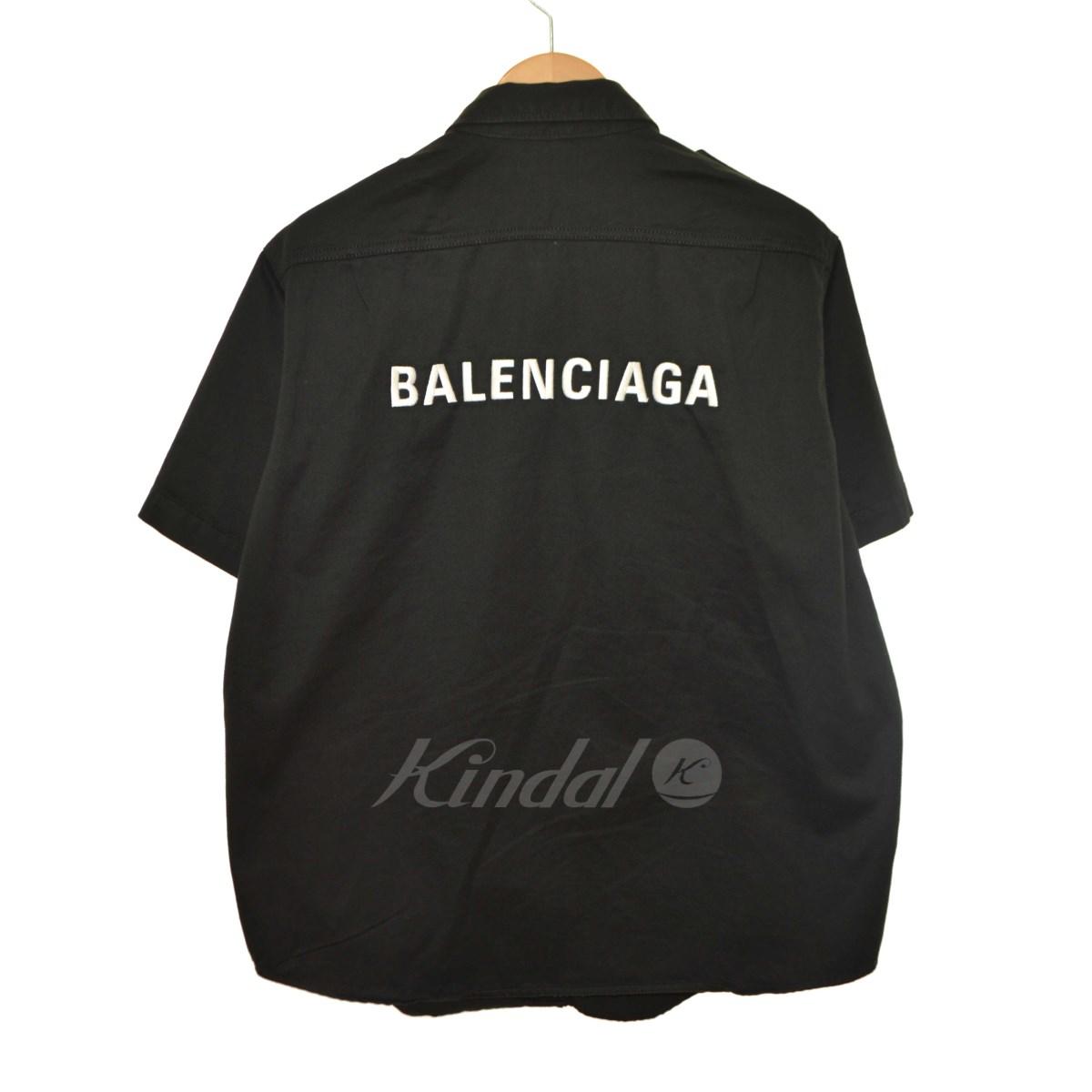 【11月1日 お値段見直しました】【中古】BALENCIAGA18AW 刺しゅうロゴハーフシャツ ブラック サイズ:39 【送料無料】