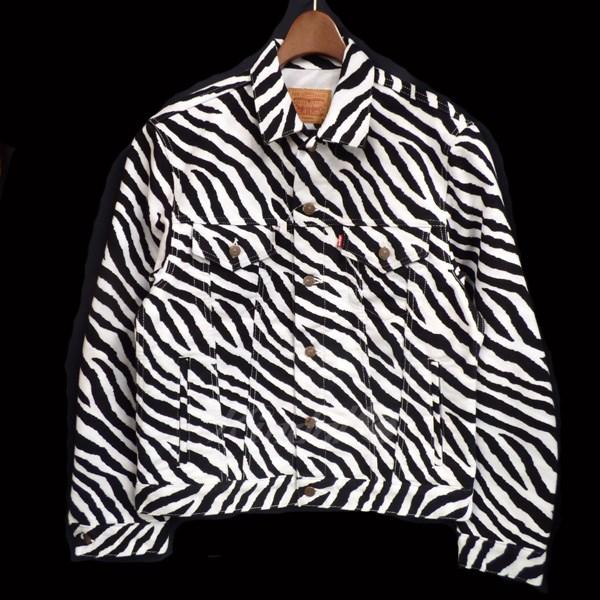 【中古】Supreme x Levis 15AW Costom Fit Moleskin Trucker Jacket トラッカージャケット ブラック×ホワイト サイズ:M 【送料無料】 【050918】(シュプリーム リーバイス)