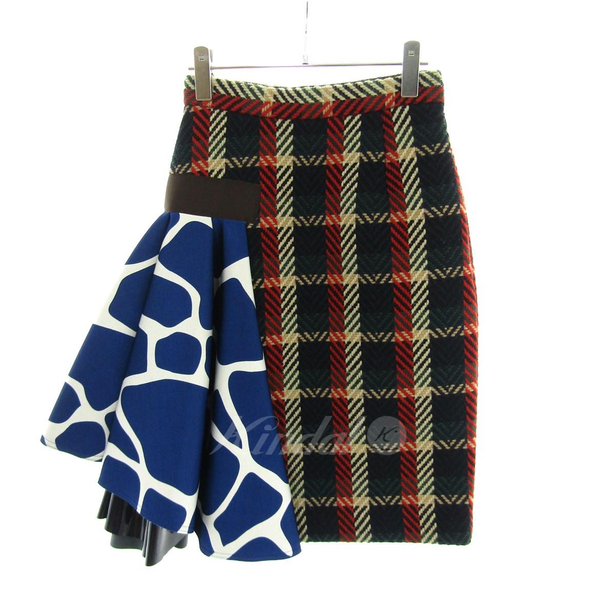 【中古】kolor 2016A/W チェック柄 デザイン スカート マルチカラー サイズ:1 【送料無料】 【090918】(カラー)