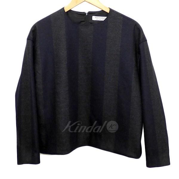 【中古】beautiful people 2015AW bold stripe jersey pullover ウールフランネルトップス ネイビー/グレー サイズ:36 【送料無料】 【090918】(ビューティフルピープル)