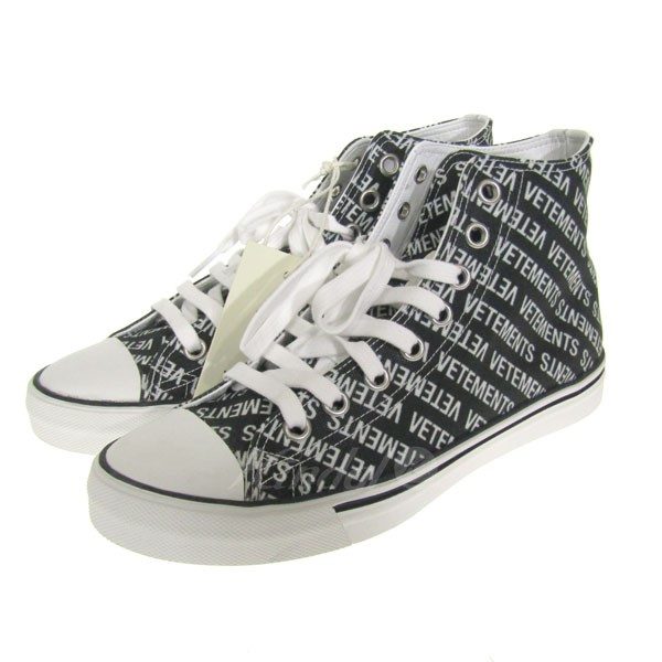 【中古】VETEMENTS 2018S/S Printed canvas Sneaker ハイネックスニーカー 【送料無料】 【057617】 【KIND1550】