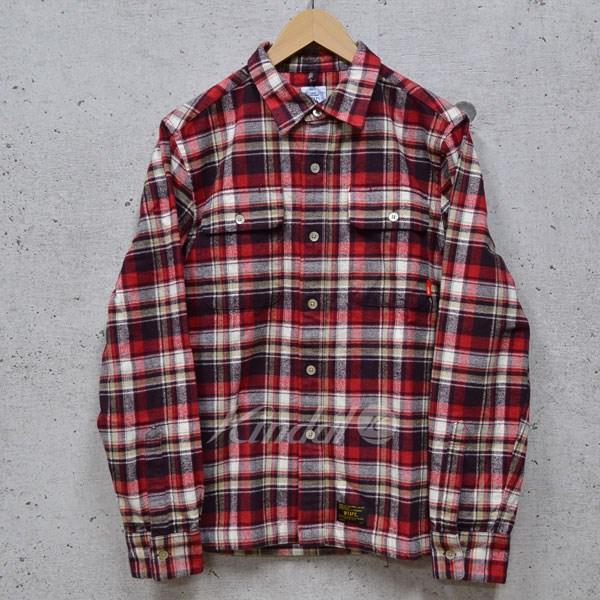 【中古】W)taps 14AW チェックシャツVATOS L/S / SHIRTS レッド サイズ:M 【送料無料】 【110918】(ダブルタップス)