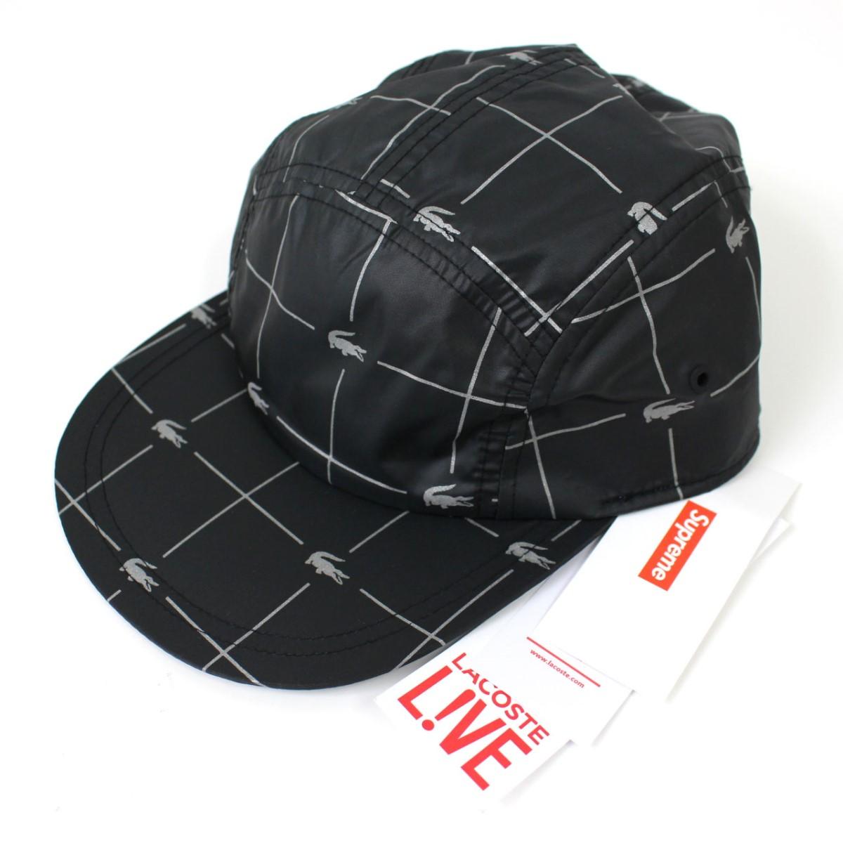 Supreme X Lacoste Reflective Grid Nylon Camp Cap 2018SS nylon cap hat black  X gray size  - (シュプリームラコステ) 0edef5a2b12