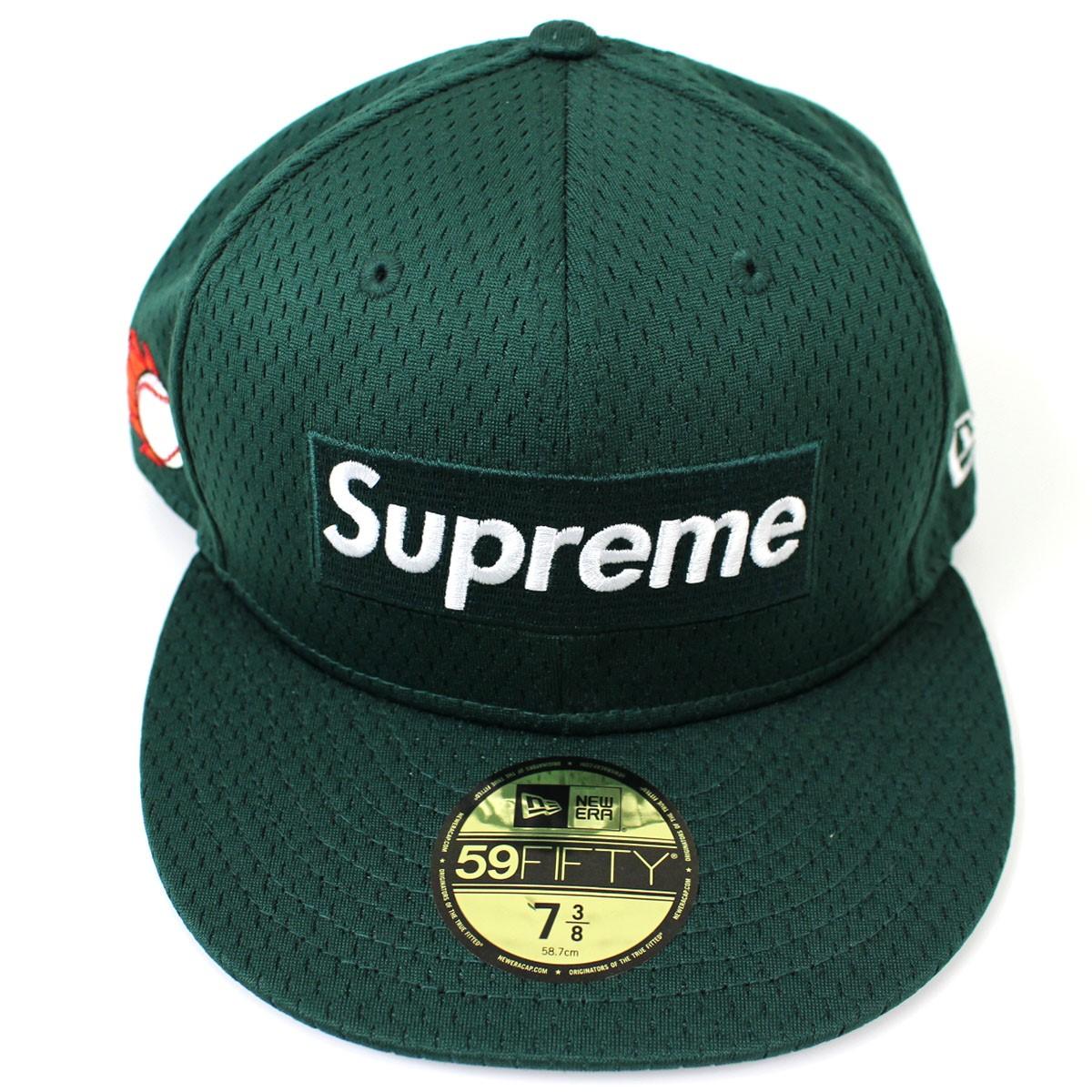 【中古】Supreme×NEW ERA Mesh Box Logo New Era Cap 2018SS メッシュボックスロゴキャップ 帽子 グリーン サイズ:7 3/8(58.7cm) 【送料無料】 【140918】(シュプリーム ニューエラ)