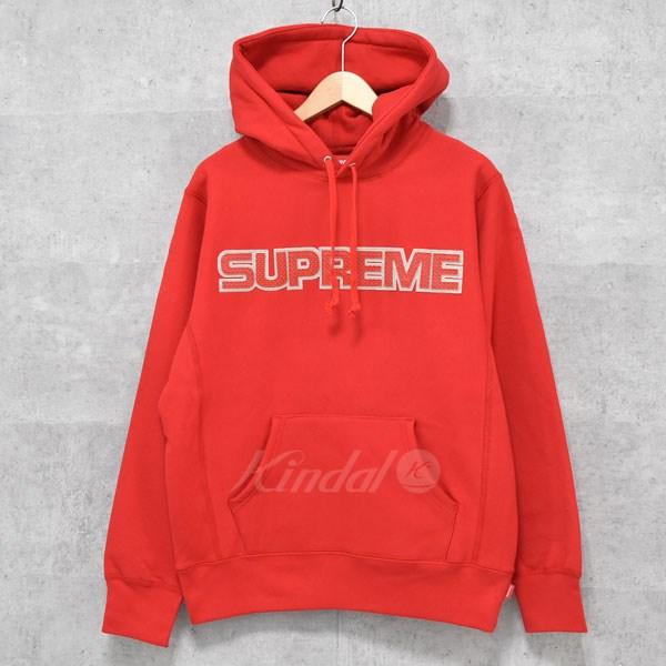 【中古】SUPREME Perforated Leather Hooded Sweatshirt パーカー 2018AW レッド サイズ:S 【送料無料】 【140918】(シュプリーム)