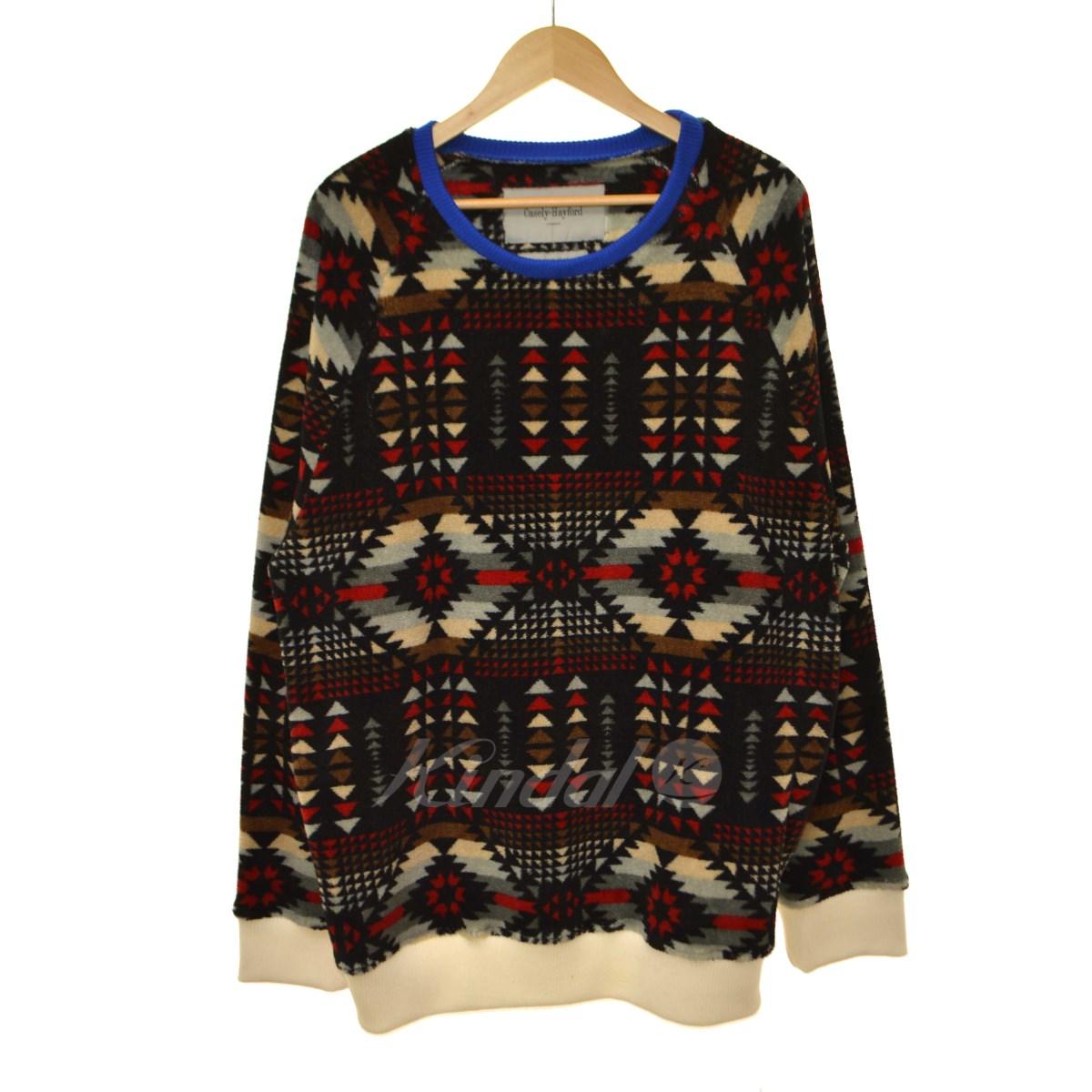 【11月15日 お値段見直しました】【中古】Casely-HayfordGalton Printed Fleece Sweatshirt フリースプルオーバーカットソー ブラック サイズ:L 【送料無料】