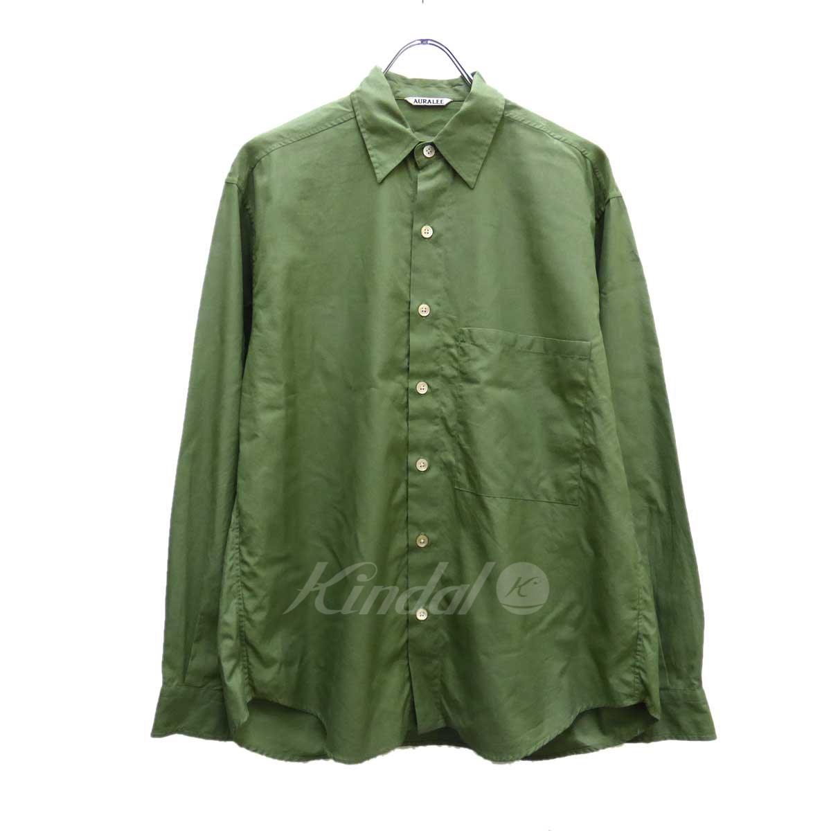 【中古】AURALEE WASHED FINX TWILL CPO シャツ カーキ サイズ:1 【送料無料】 【140918】(オーラリー)