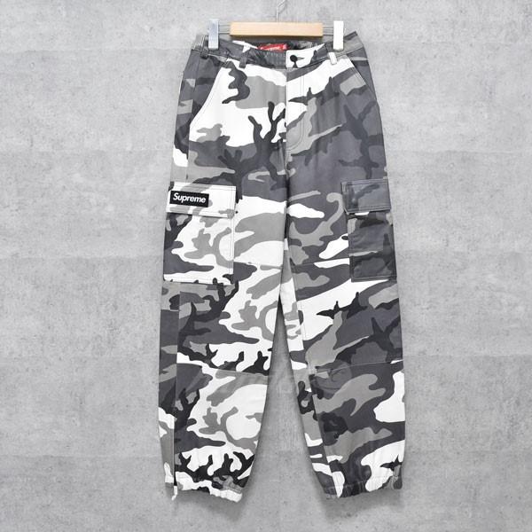 【中古】SUPREME 18AW カモフラ柄 レザーカーゴパンツ Leather cargo pants グレー・ホワイト他 サイズ:30 【送料無料】 【160918】(シュプリーム)