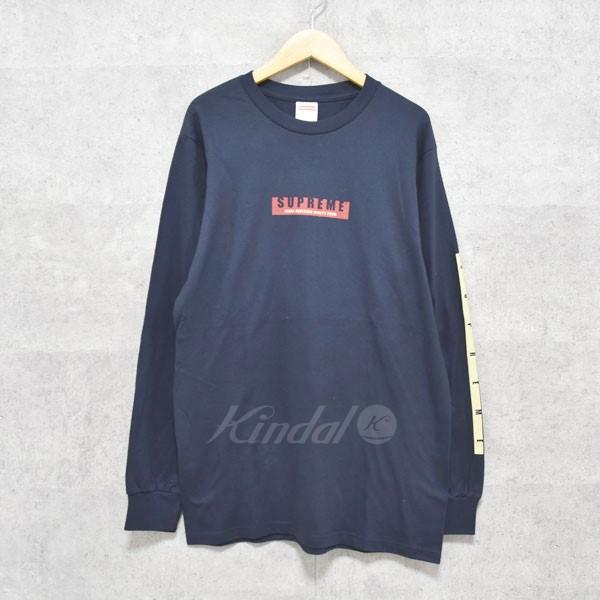【10月1日 お値段見直しました】【中古】SUPREME2018AW 1994 L/S Tee ロゴロングTシャツ ネイビー サイズ:S 【送料無料】