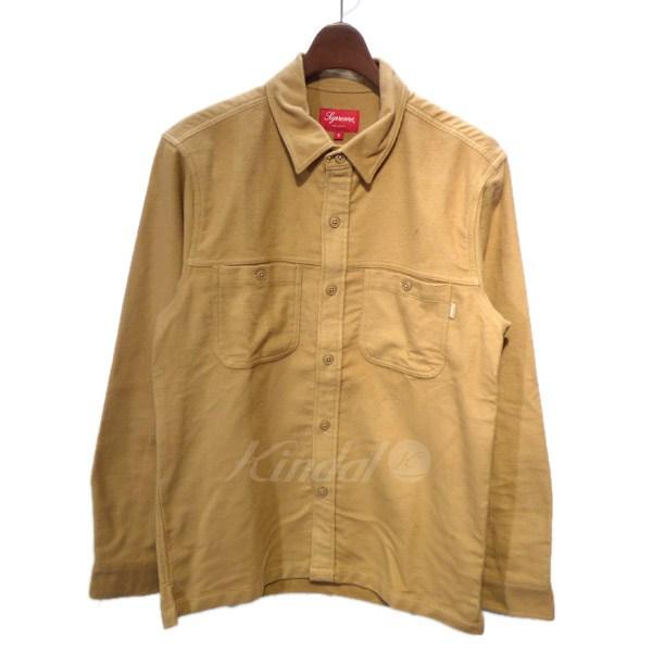 【中古】SUPREME 2016AW Moleskin Field Shirt モールスキンシャツ ベージュ サイズ:S 【送料無料】 【210918】(シュプリーム)