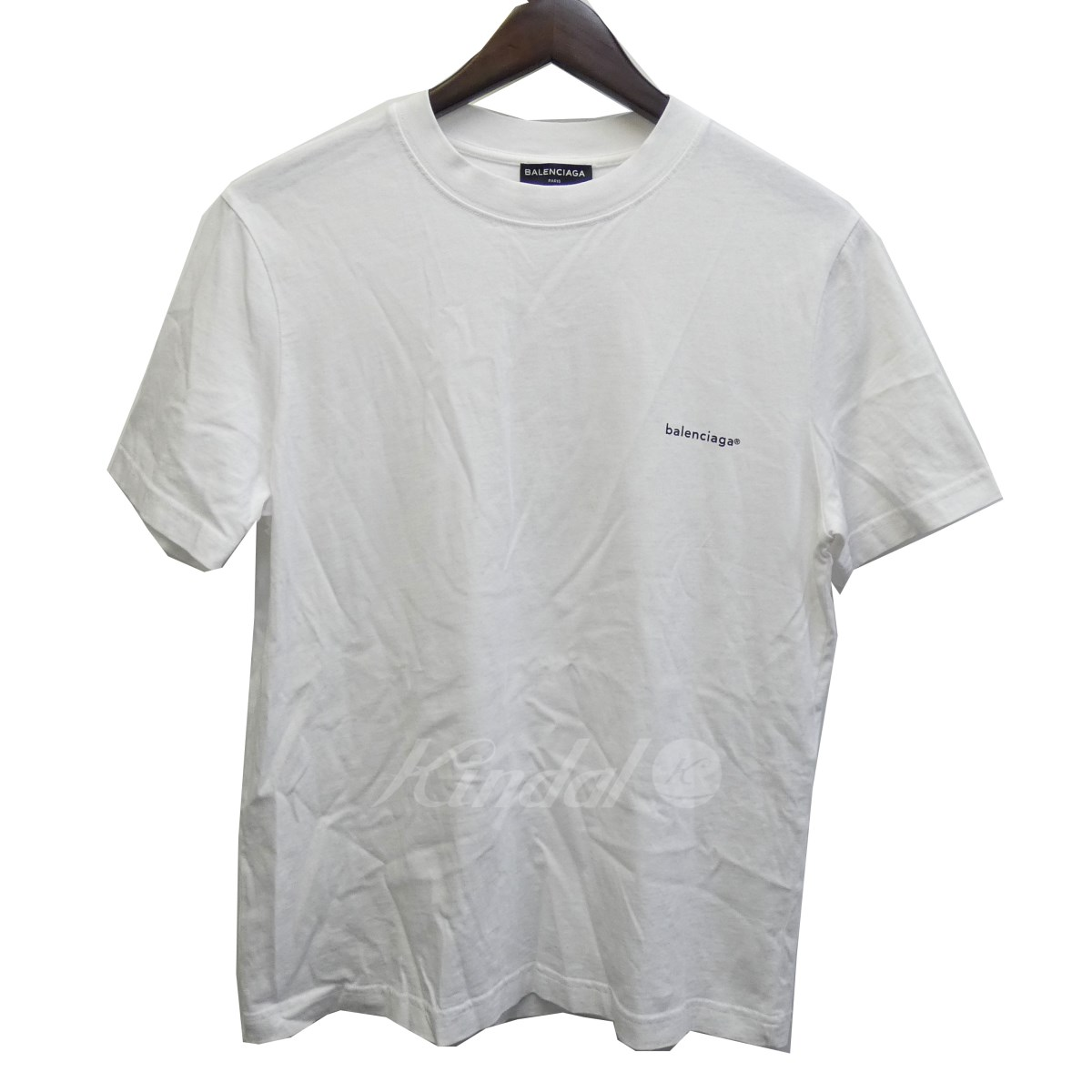 【中古】BALENCIAGA 17AW ロゴプリントTシャツ ホワイト サイズ:S 【送料無料】 【210918】(バレンシアガ)