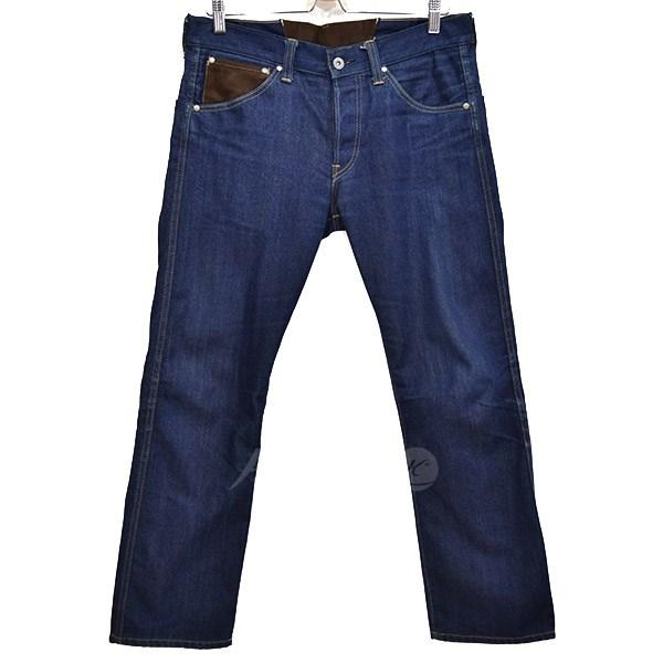 【中古】JUNYA WATANABE CdG MANシンチバック素材切替デニムパンツ 2014SS インディゴ×ブラウン サイズ:XS