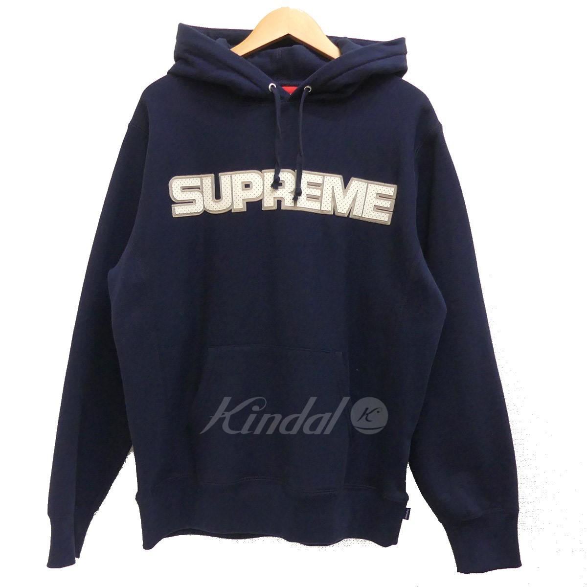 【中古】SUPREME 2018AW Perforated Leather Hooded SweatShirt ネイビー サイズ:M 【送料無料】 【220918】(シュプリーム)