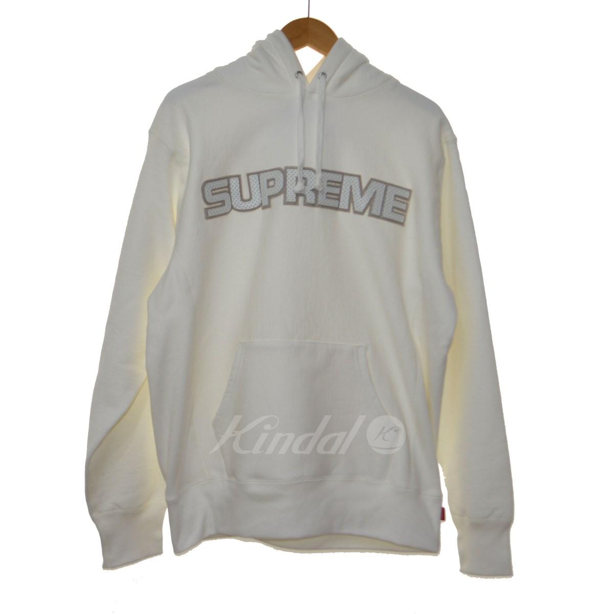 【中古】SUPREME 18AW Perforated Leather Hooded Sweat Shirt パーカー ホワイト サイズ:M 【送料無料】 【220918】(シュプリーム)