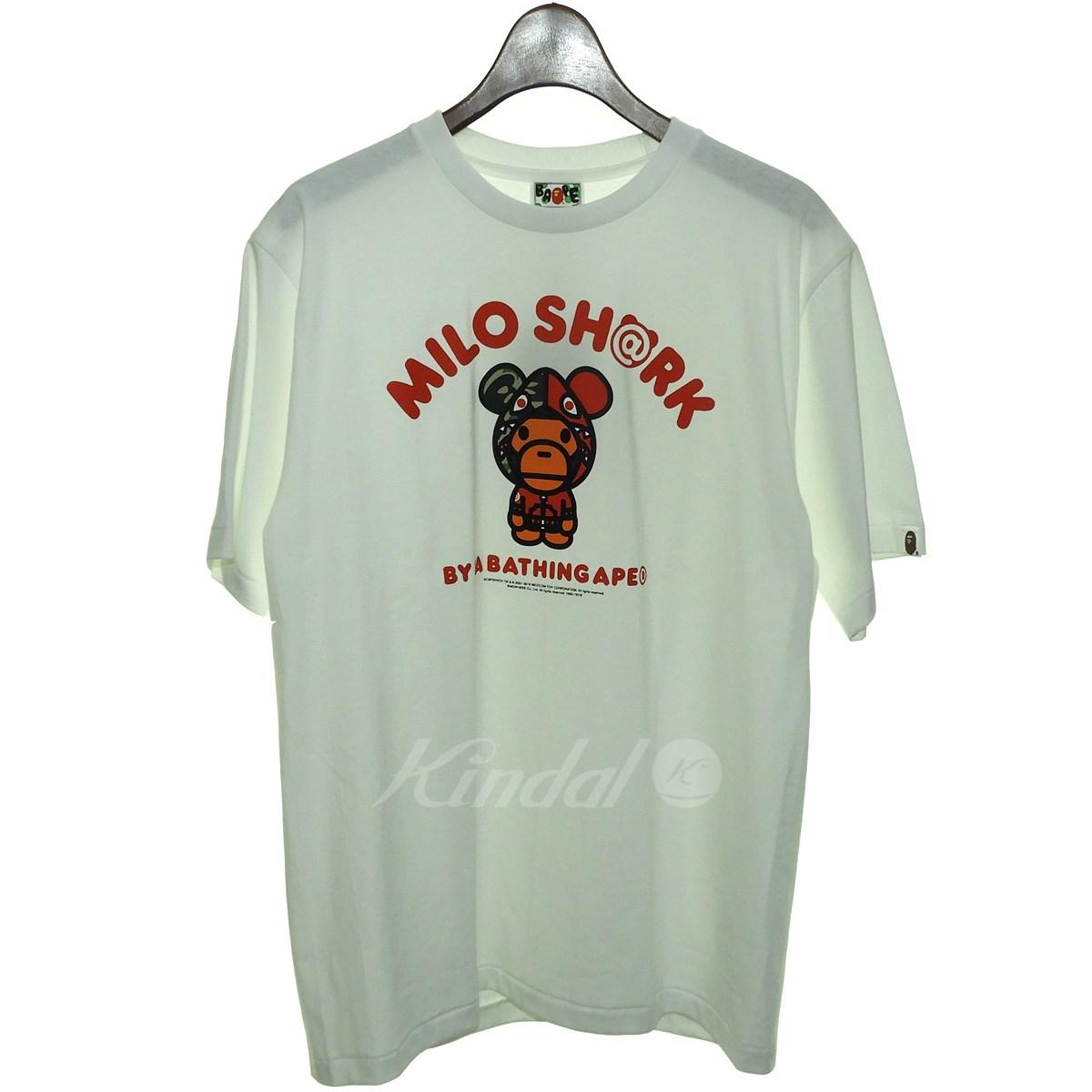 【中古】A BATHING APE×MEDICOM TOY 18AW「MILO SHARK TEE」マイロシャークTシャツ ホワイト×レッド サイズ:M 【送料無料】 【240918】(アベイシングエイプ メディコムトイ)