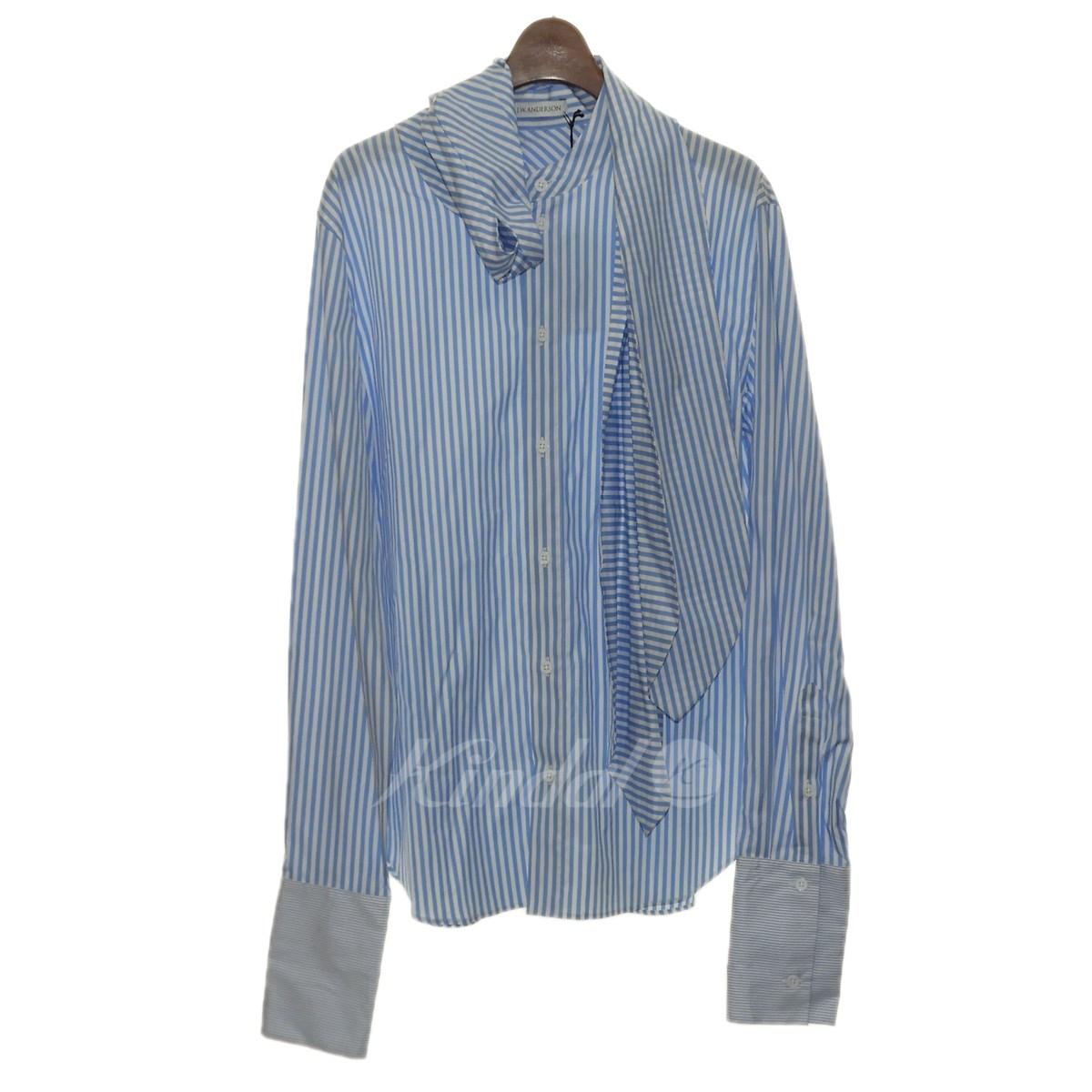 【中古】J.W.Anderson 「BEACH STRIPE SHIRT W/SCARF」スカーフストライプシャツ ブルー×ホワイト サイズ:46 【送料無料】 【240918】(ジョナサンウィリアムアンダーソン)