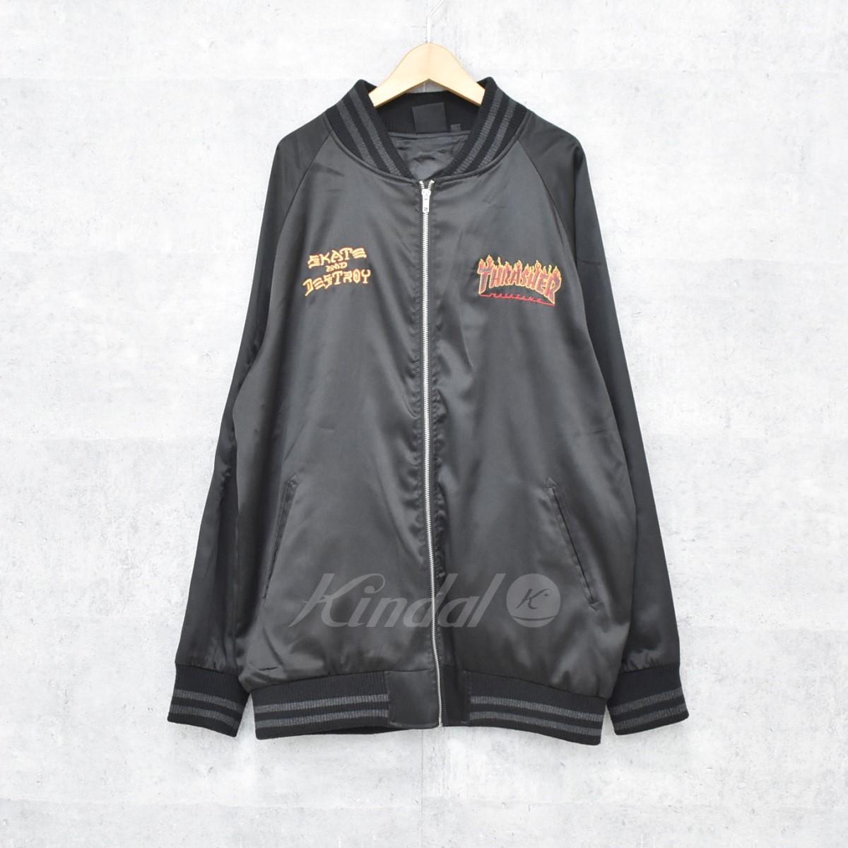 【中古】THRASHER スカジャン ブラック サイズ:XL 【送料無料】 【240918】(スラッシャー)