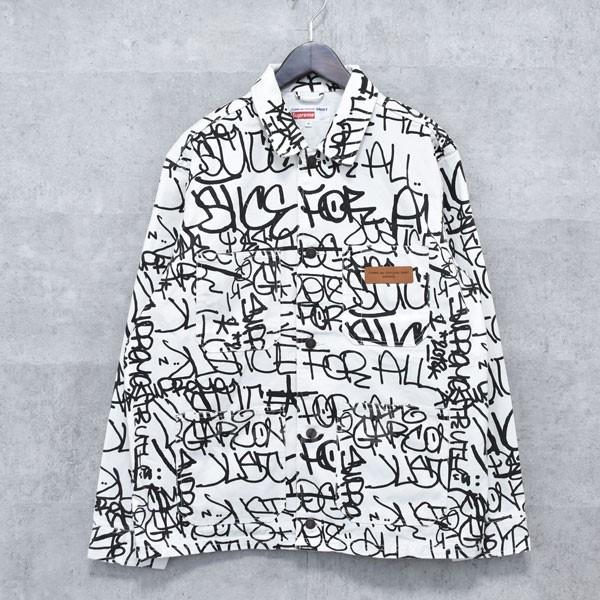 【中古】SUPREME × COMME DES GARCONS SHIRT 18AW Printed Canvas Chore Coat キャンバスジャケット ホワイト・ブラック サイズ:M 【送料無料】 【260918】(シュプリーム×コムデギャルソンシャツ)